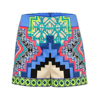 Retro Folk Style Shorts With Floral Print In Light Blue
