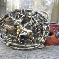 80'sVintage Brass DEER Buckle and Tooled Leather Belt