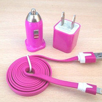 3pcs/Lot!1m USB Cord 1PCS USB Power Adapter Wall Charger and 1Pcs Car Charger For Iphone 4/4s/5