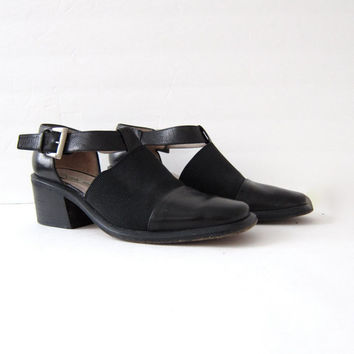 Vintage 90s shoes. Italian back leather buckled shoes. Leather cut out sandals. chunky heels. size 6.5