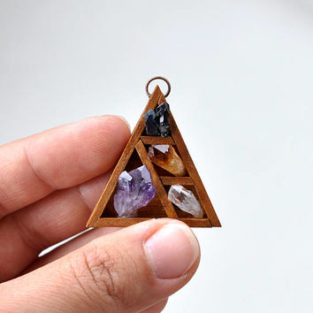Cute Wooden Altar Shelf Series Pendant, Amazing Handmade Jewelly, Crystals, Copper Ring & Copper Chain, Unisex Pendant