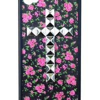 Rose Buddies Silver Studded Cross iPhone 4/4s Case