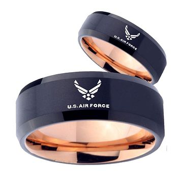 His Hers US Air Forces Bevel Tungsten Rose Gold Promise Ring Sets