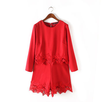 Summer Women's Fashion Stylish Round-neck Lace Patchwork Long Sleeve Romper [4933132996]