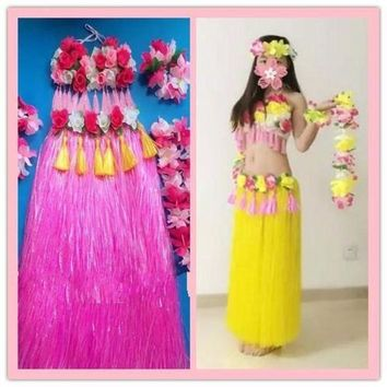 DCCKH6B 2016 Hawaiian hula hula grown-up 80 cm double thickening of adult men and women a grass skirt suit dance costumes