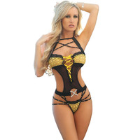 Women Sexy Lingerie Hot Ribbons Tied Erotic Costumes Hollow Out Female Underwear Suit Baby Doll Sex Products Exotic Apparel 25