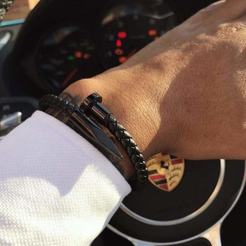 Leather Nail Charm Men's Bracelets