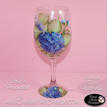 Hand Painted Wine Glass - Blue Hydrangeas - Original Designs by Cathy Kraemer