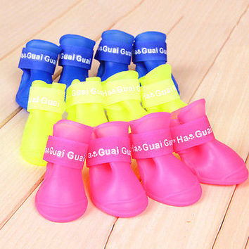 1Set 4Pcs Soft Waterproof Dog Boots Protective PVC Pet Rain Shoes Booties S/M/L