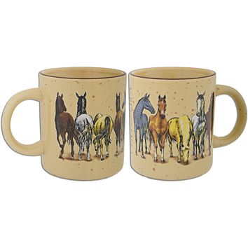 CMVA03 Coffee Mug Tan Speckled Horses with Virginia