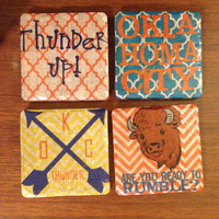 oklahoma city thunder coasters. okc. thunder. basketball. coasters. thunder up.