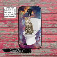 Cat On A Toilet In Space Galaxy Funny Poop Cute Kitty Custom Galaxy S5 and S4 and S3 Case and Galaxy Note 2 and Note 3 Case