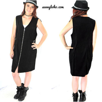 Minimalist black velvet pinstripe jumper / dress M 90s grunge / goth black sleeveless jumper SunnyBohoVintage