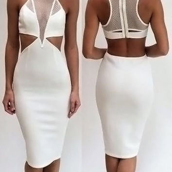 White Mesh Panel Cut Out Midi Bodycon Dress