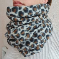 Infinity Leopard Animal Print Fleece Scarf - Neckwarmer -  Perfect Christmas Gift - Fall Winter Scarf - Very Warm