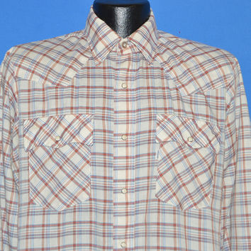 80s Levi's Off White Plaid Western Pearl Snap Shirt Medium