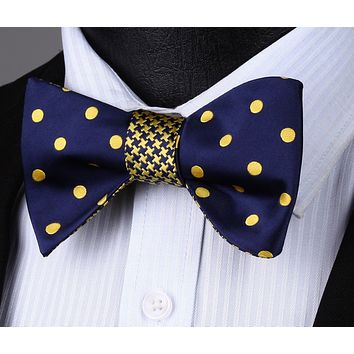 Blue Yellow Polka Dot Double Sided Self Tie Bow