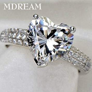 silver plated ring with 3 Carat CZ Diamond for women wedding fashion heart style rings jewelry 7 8 9 10 LSR048
