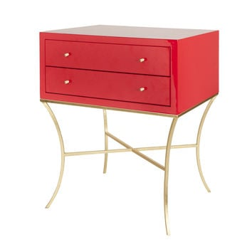 Elena Red Bed Side Table