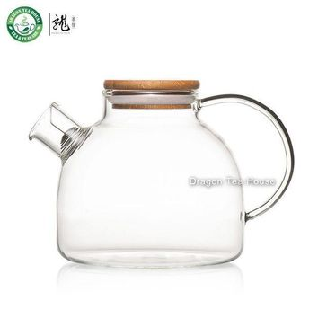ESBU3C Clear Glass Teapot Water Tea Kettle with Bamboo Lid and Filter 950ml 32.12oz