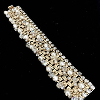 Hobe Faux Pearl and Rhinestone Bracelet, Woven Textured Gold Tone Book Chain, Ice Crystals, Faux Pearl & AB Dangles, Vintage Gift for Her