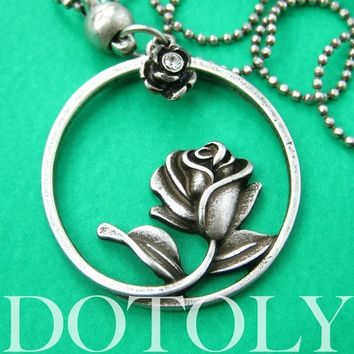 Beauty and the Beast Inspired Rose Round Pendant Necklace Silver