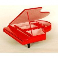 Ashton Sutton Piano Shaped Jewelry Box in Red - J405Red - Jewelry Boxes - Decorative Accents - Decor