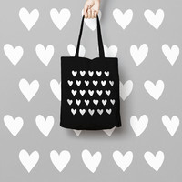 Black Canvas Tote Bag Love Heart, Hipster Tote Bag,  Printed Tote Bag, Market Bag, Cotton Tote, Large Canvas Tote, Funny geometric bag