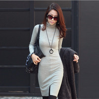 Knitted Long Sleeve High Neck Dress