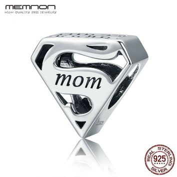 Memnon Authentic 925 Sterling Silver Super Mom Mother Engrave charms fit beads Bracelets Bangles DIY Jewelry Mother Gift SCC429