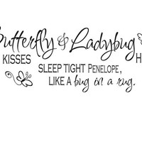 Personalized Name Butterfly kisses ladybug hugs girls wall quote decal sticker