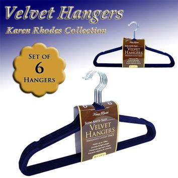 KAREN RHODES COLLECTION  - (6) VELVET HANGERS - NAVY