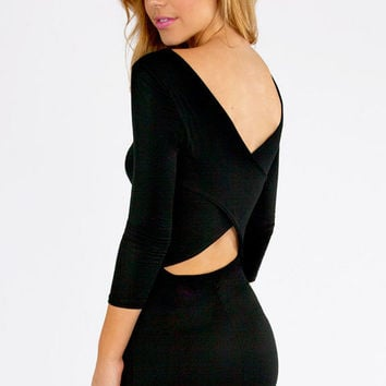 Sleeve Wrap Back Cutout Bodycon Dress