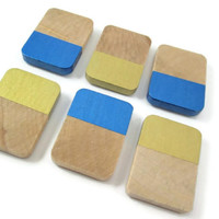 Blue, Gold Wood Magnets - Painted Geometric Magnet Set – Metallic Refrigerator Magnets - Set of 6