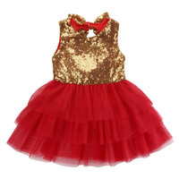 Baby Kids Flower Girl Sequins Dress Love Pattern Bow Tulle Tutu Party Formal Bridesmaid Dresses New Ruffles