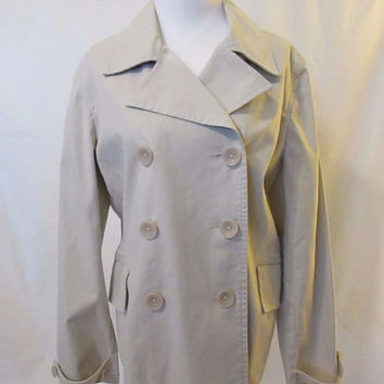 Talbots Trench Coat Style Jacket Women's 12 Khaki Beige Unlined Short Length