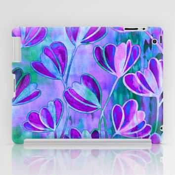 EFFLORESCENCE Lavender Purple Blue Colorful Floral Watercolor Painting Summer Garden Flowers Pattern iPad Case by EbiEmporium