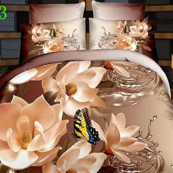 4 pcs flower bedding set duvet cover comforter bed linen set Queen/king size