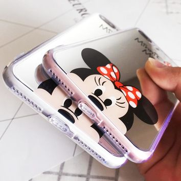 Luxury Mickey Minnie Mirror Phone Case Cover for Apple iPhone 8 7 6S 6 Plus S Cases Plating Soft Silicone