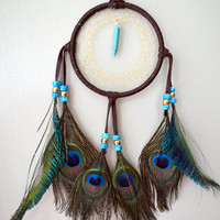 Turquoise Mountains Dark Brown Light Blue and Green Native American Dream Catcher
