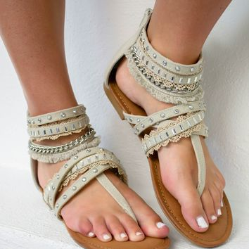 Xara Bling Sandals | Cream