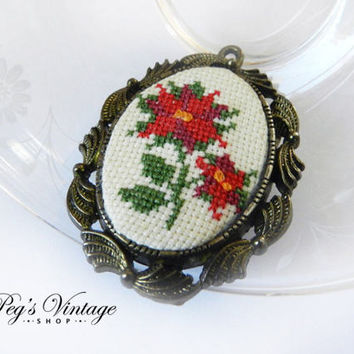 Pretty Cross Stitch Vintage Brooch Pendant, The Creative Circle Floral Needle Point Jewelry