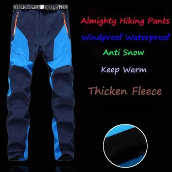 Befusy Men's Winter Inner Fleece Softshell Hiking Pants Outdoor Sports Thick Warm Fishing Trekking Camping Skiing Male Trousers