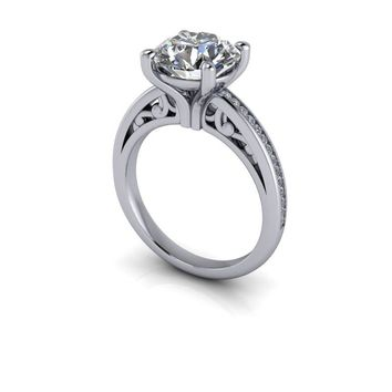 Channel Set Engagement Ring Round Certified Forever One Moissanite - Customize Your Ring