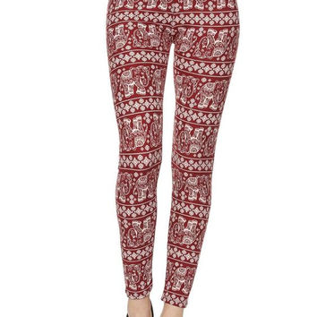 Red maroon elephant print soft leggings, One Size