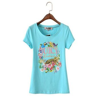 PEAP2Q Juicy Couture Floral Tiger Graphic Tee T011 Women T-shirt Sky Blue