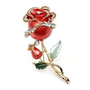 Decorative Garment Dress Accessories Wedding Bridal Luxury Rhinestone Flower Rose Enamel Brooch Pin