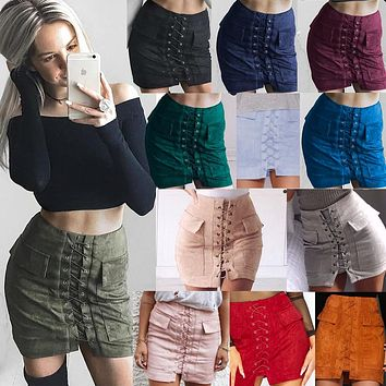 M.H.Artemis Boho Chic women 90's Vintage pocket preppy short skirt high waist casual skirts  Bodycon Bandage Short Pencil skirt
