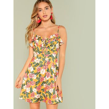 Multicolor Polyester Floral Print Beach Dress