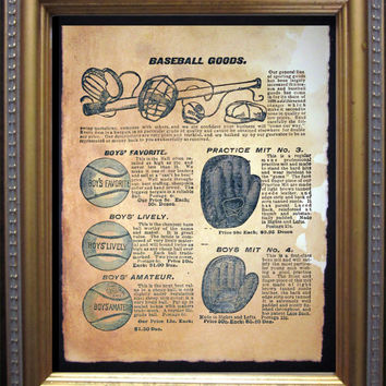 Vintage Baseball Goods Advertisement Ad Art Print- Vintage Art Print on Tea Stained Paper